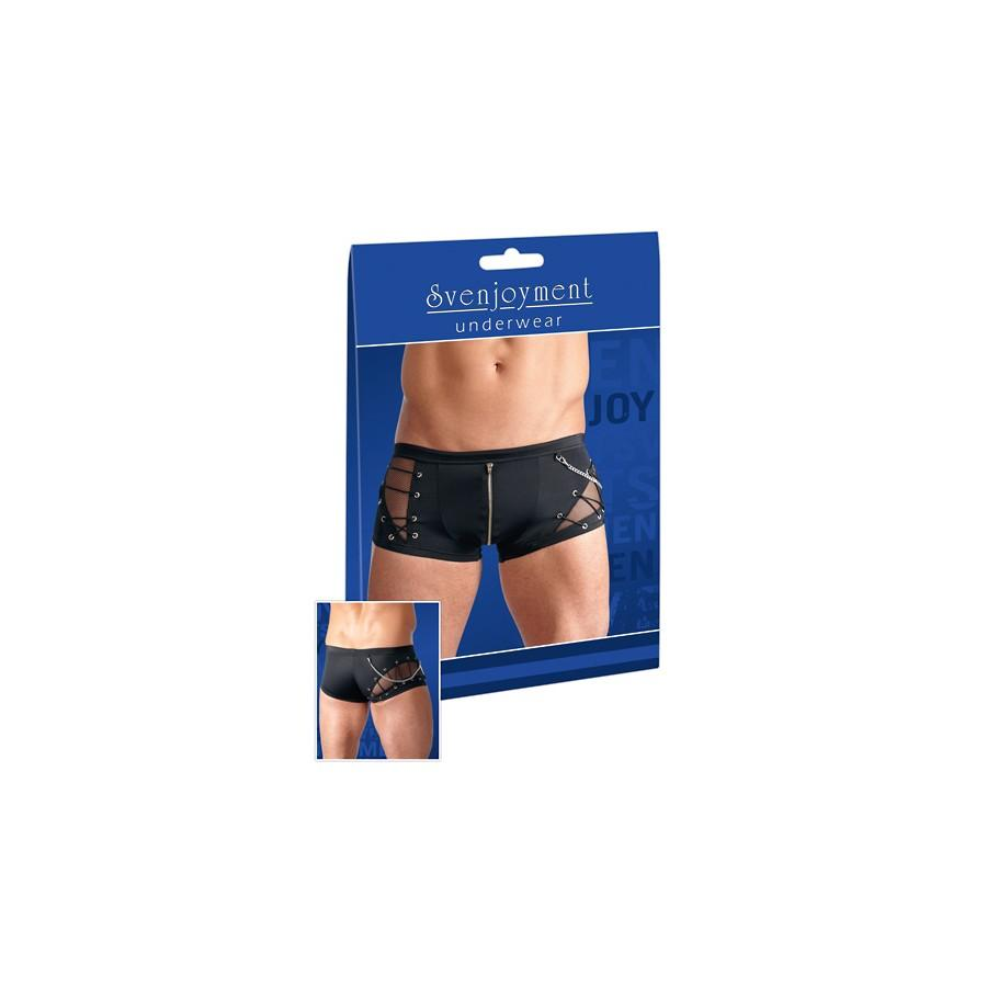 Black men's boxer shorts with a zipper and lacing